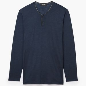 ⟪NWT⟫ The Kooples ML Leather Trim Henley - Blue SM